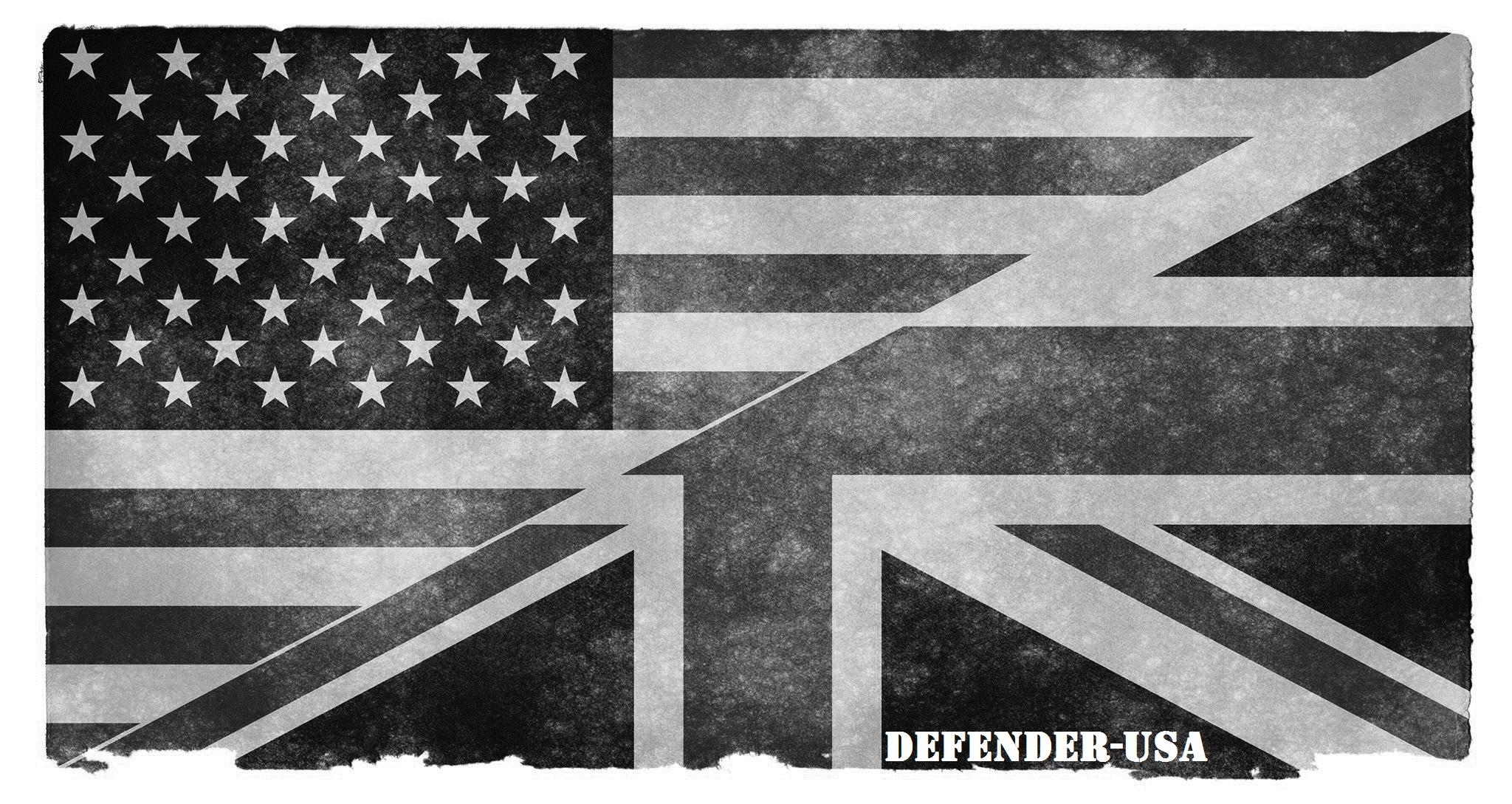 US/UK Flag (Black & White) Defender-USA Sticker - Defender-USA